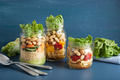 vegan couscous and pasta salad in mason jars with vegetables bea - PhotoDune Item for Sale