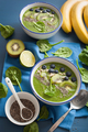 green smoothie bowl spinach kiwi blueberry lime banana with chia - PhotoDune Item for Sale