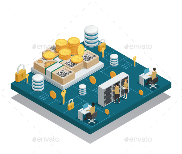 Cryptocurrency And Blockchain Isometric Composition - Business Conceptual