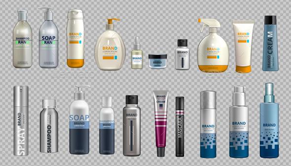 Digital Vector Realistic Bottles Set Collection Mockup - Objects Vectors