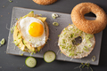 sandwiches on bagels with egg, avocado, soft cheese, alfalfa spr - PhotoDune Item for Sale