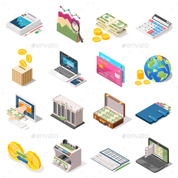 GraphicRiver Accounting Isometric Icons Set 20883609