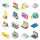 Accounting Isometric Icons Set