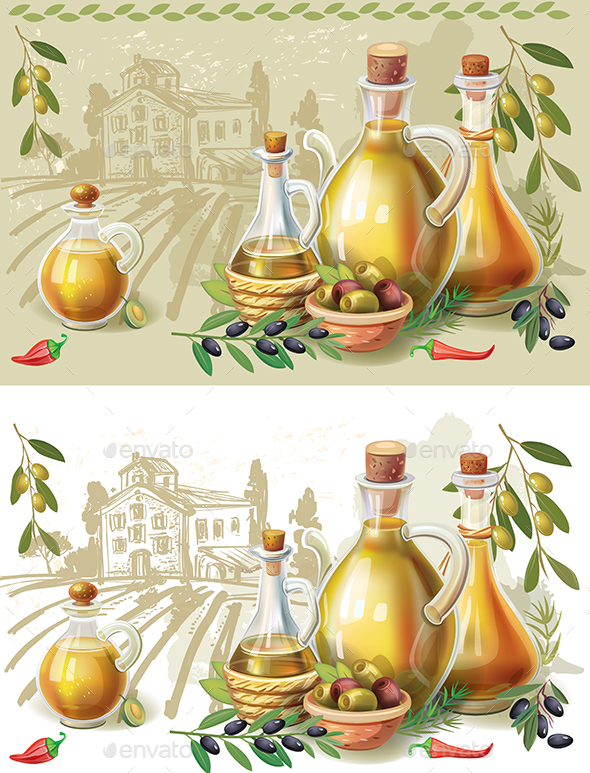 GraphicRiver Bottles with Oive Oil in the Background of a Rural Landscape 20829284