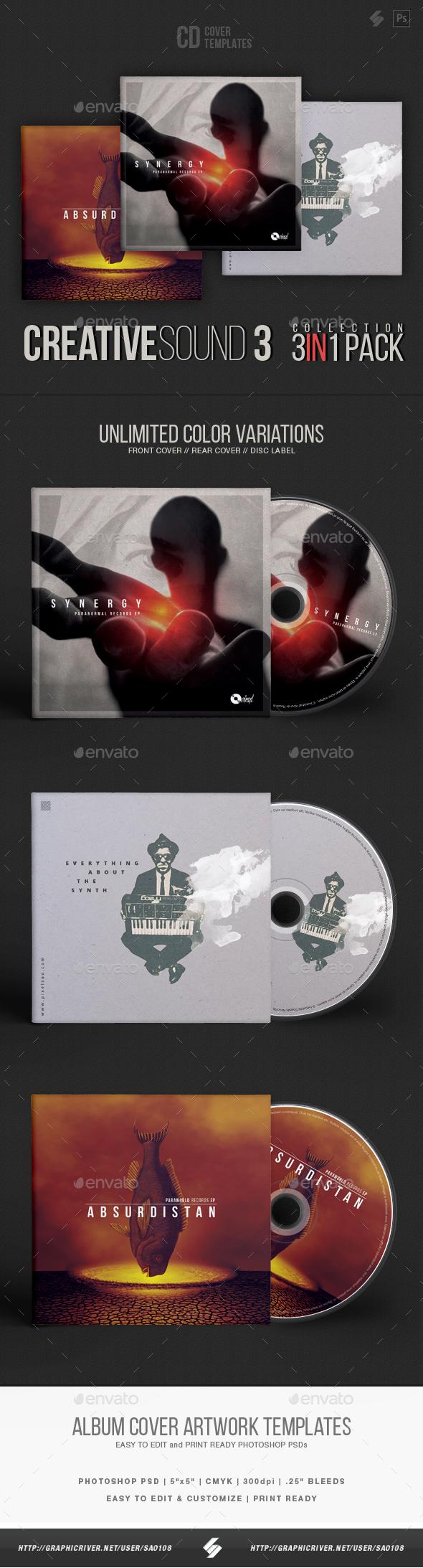 Creative Sound Collection 3 - CD Cover Artwork Templates Bundle - CD & DVD Artwork Print Templates