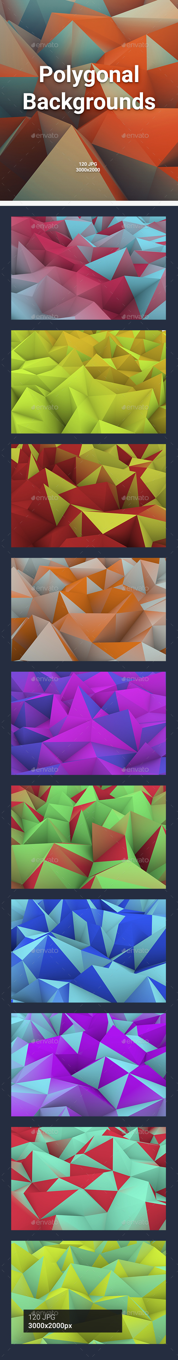 GraphicRiver 120 Polygonal Backgrounds 20884018