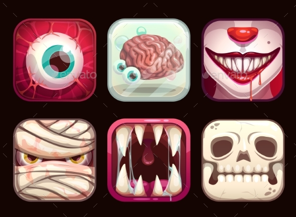 Scary App Icons on Black Background. - Miscellaneous Vectors