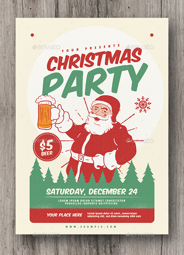 Retro Christmas Party Flyer - Holidays Events