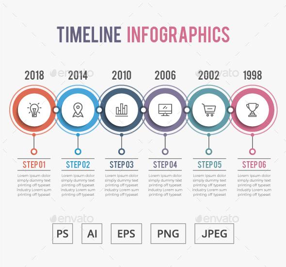 6 Steps Timeline Infographics - Infographics