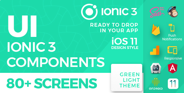 CodeCanyon Ionic 3 UI Theme Template App iOS 11 style Green Light 20884976