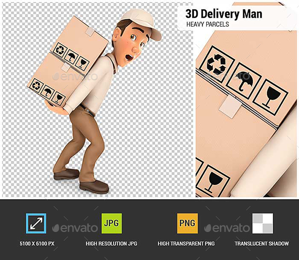 GraphicRiver 3D Delivery Man Heavy Parcels 20885459