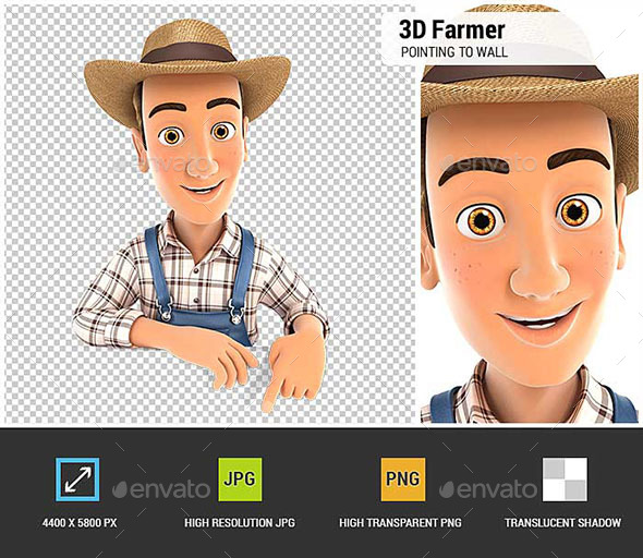 GraphicRiver 3D Farmer Pointing to Empty Wall 20885471