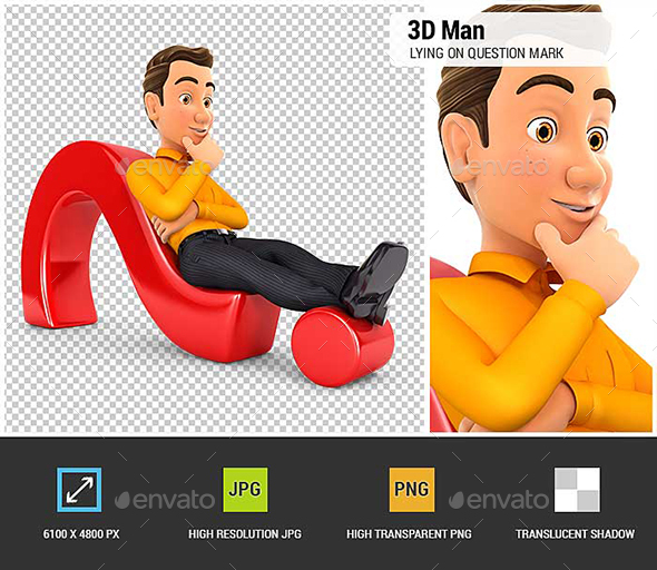 GraphicRiver 3D Man Lying on Question Mark 20885522