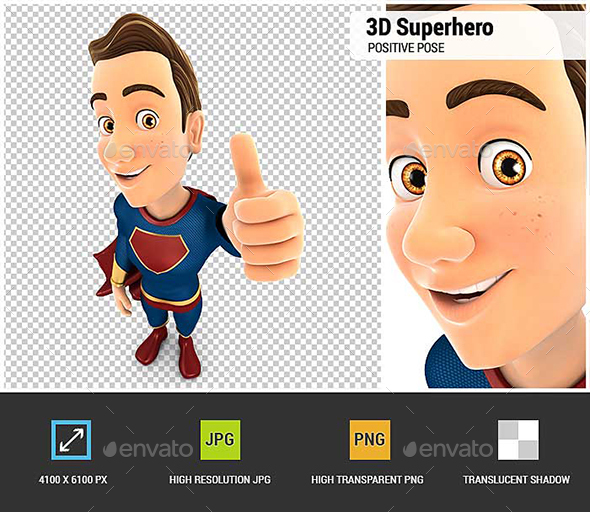 GraphicRiver 3D Superhero Positive Pose with Thumb Up 20885575