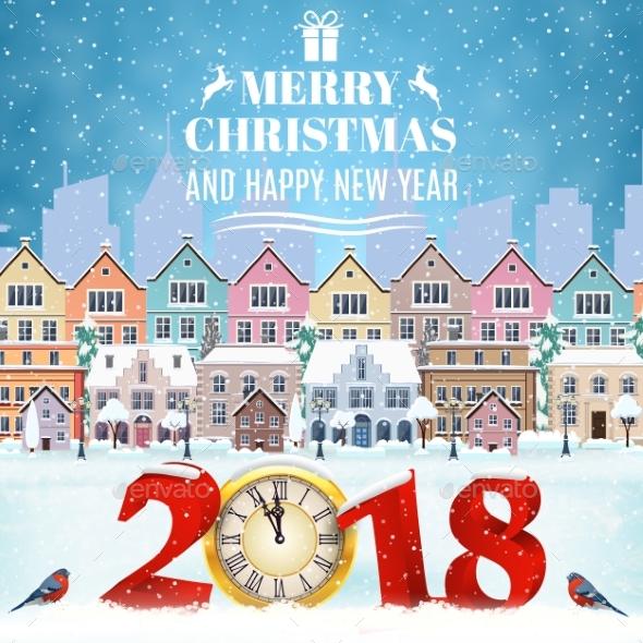 GraphicRiver Christmas Postcard with Vintage Street 20885749