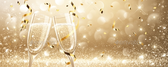 Glasses of Champagne with Confetti - New Year Seasons/Holidays