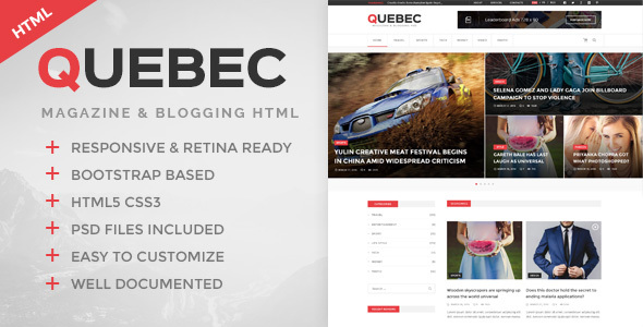 Quebec - News, Magazine & Blogging HTML Template - Creative Site Templates