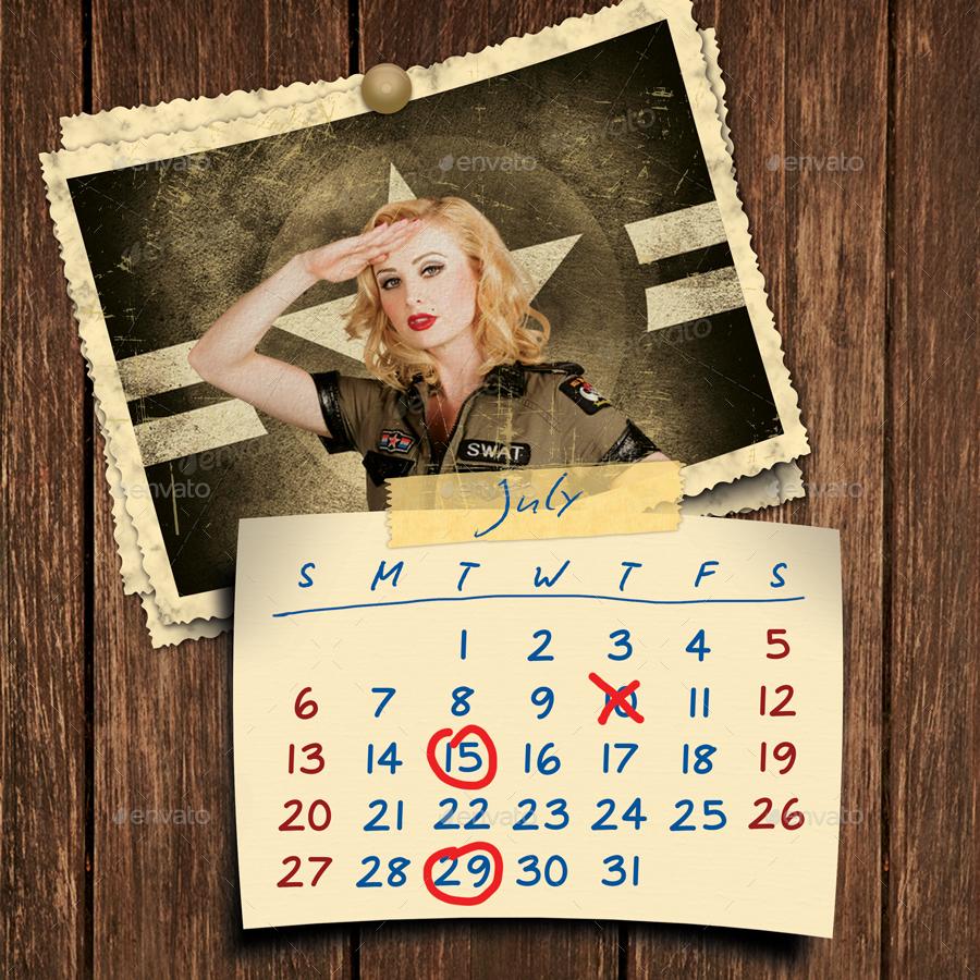 Retro Calendar Design : Retro photos calendar template by min graphicriver