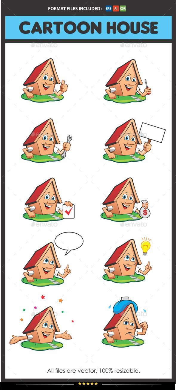 Cartoon House Mascot - Man-made Objects Objects