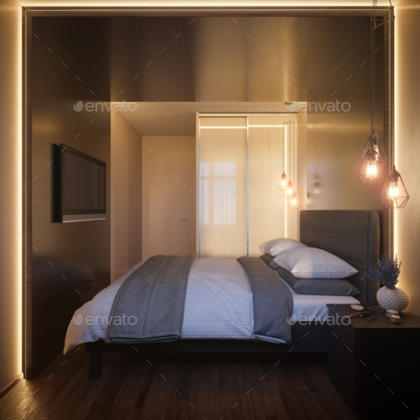 GraphicRiver 3D Illustration of a Bedroom Interior Design 20886428