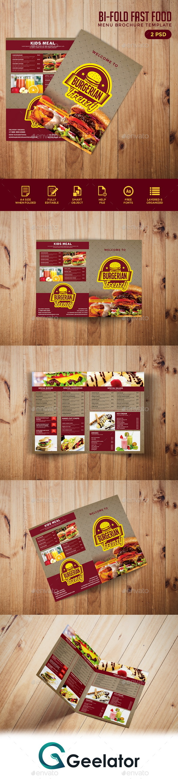 Bifold Fast Food Menu Brochure Template - Food Menus Print Templates