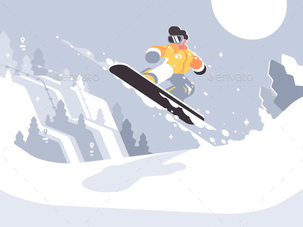 Snowboarder Guy Snowboarding - Sports/Activity Conceptual
