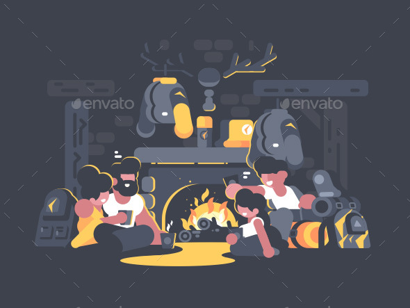 GraphicRiver Friends Sitting By Fireplace 20886764