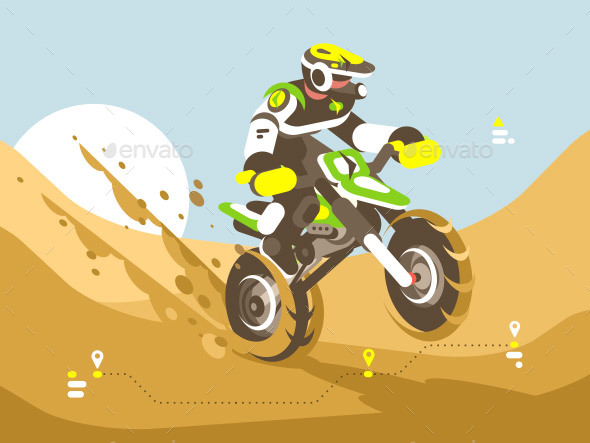 GraphicRiver Motorcyclist Racing in Desert 20886874
