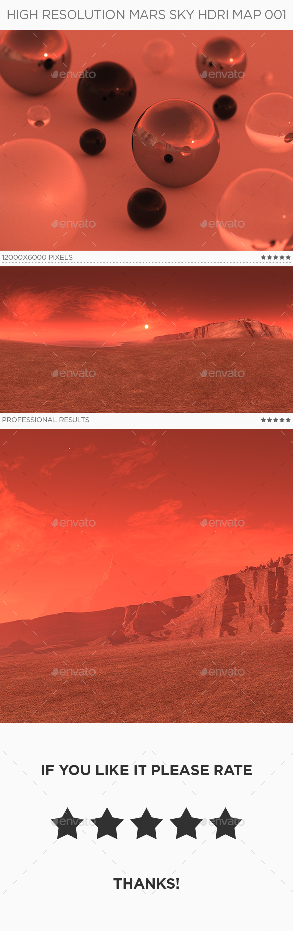 High Resolution Mars Sky HDRi Map 001 - 3DOcean Item for Sale