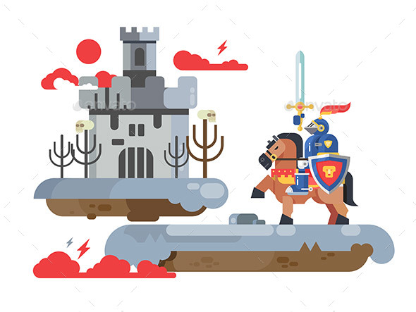 Knight with Sword and Old Castle - People Characters