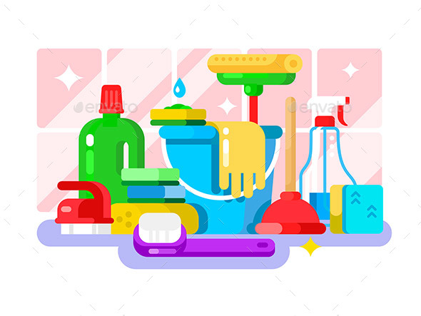 Cleaning Tools and Detergent in Bottle Flat Design - Man-made Objects Objects