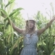 Beautiful Girl in Hat Running and Smiling in Corn Field - VideoHive Item for Sale