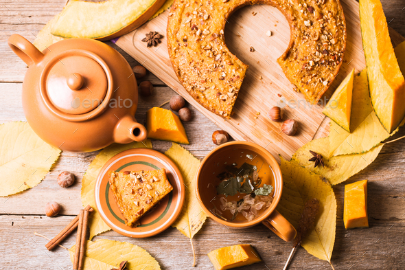 Autumn Composition with Pumpkin Pie and Tea - Stock Photo - Images