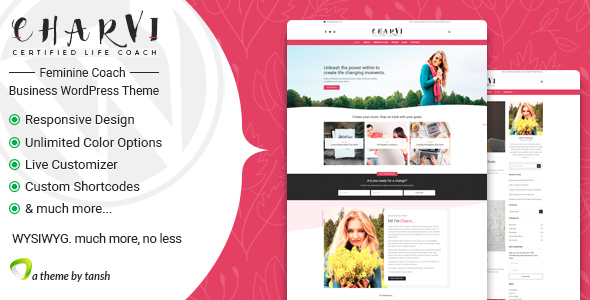 Charvi Coach & Consulting - Feminine Business WordPress Theme - Personal Blog / Magazine