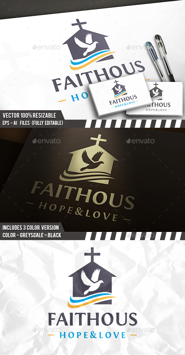 GraphicRiver Dove Church House Logo 20887716