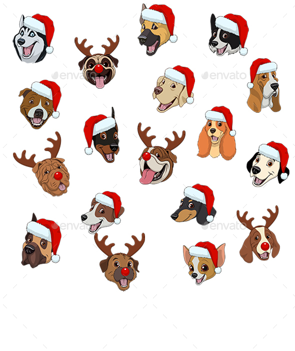 GraphicRiver Set of Dogs for Christmas 20887914