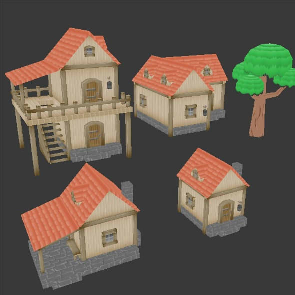 four lowpoly houses medieval style - 3DOcean Item for Sale