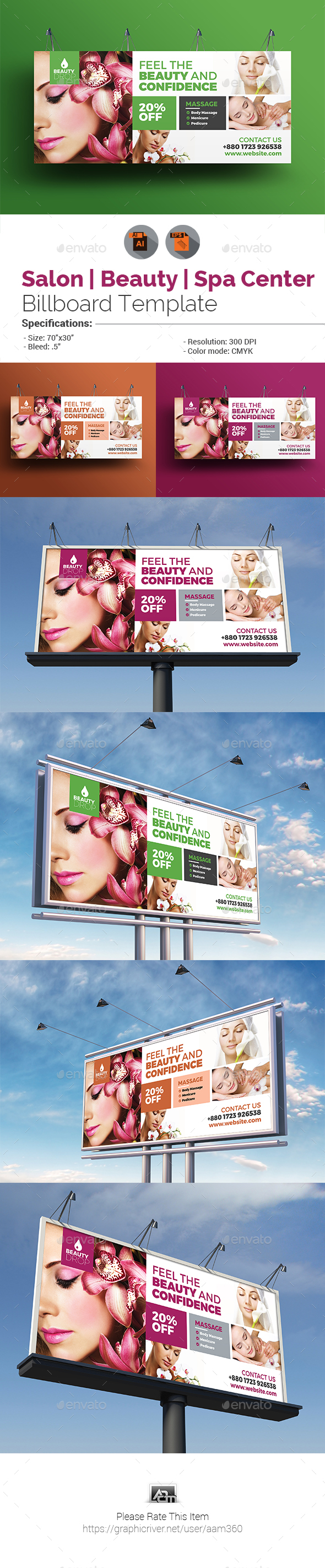 GraphicRiver Spa & Beauty Care Billboard Template 20888027