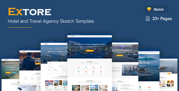 Extore - Hotel & Travel Agency Sketch Template - Sketch Templates