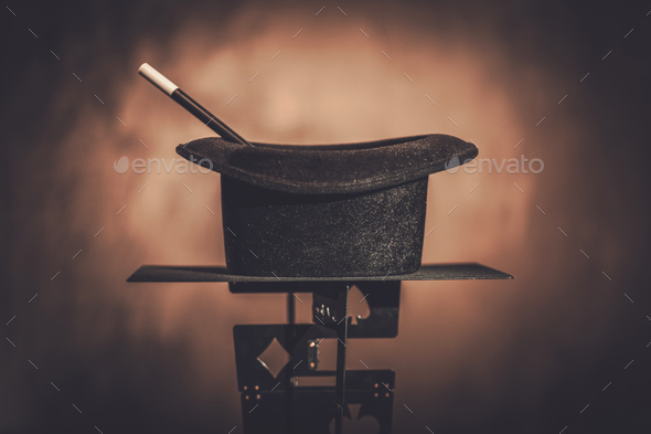 Top hat and a magic wand - Stock Photo - Images