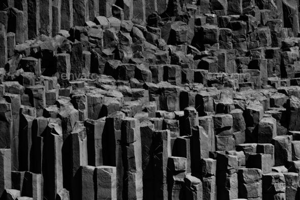 Basalt columns in Iceland, near Vik. - Stock Photo - Images