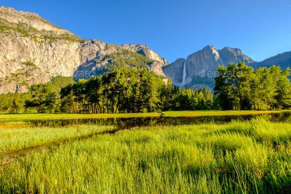 Meadow with flooded boardwalk and Yosemite Falls - Stock Photo - Images