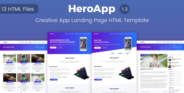 HeroApp - Creative App Landing Page HTML Template