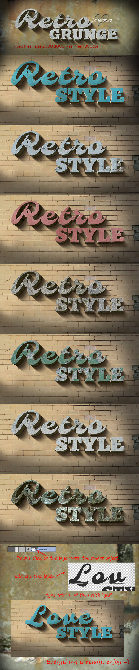 3D Retro Grunge Styles - Text Effects Styles