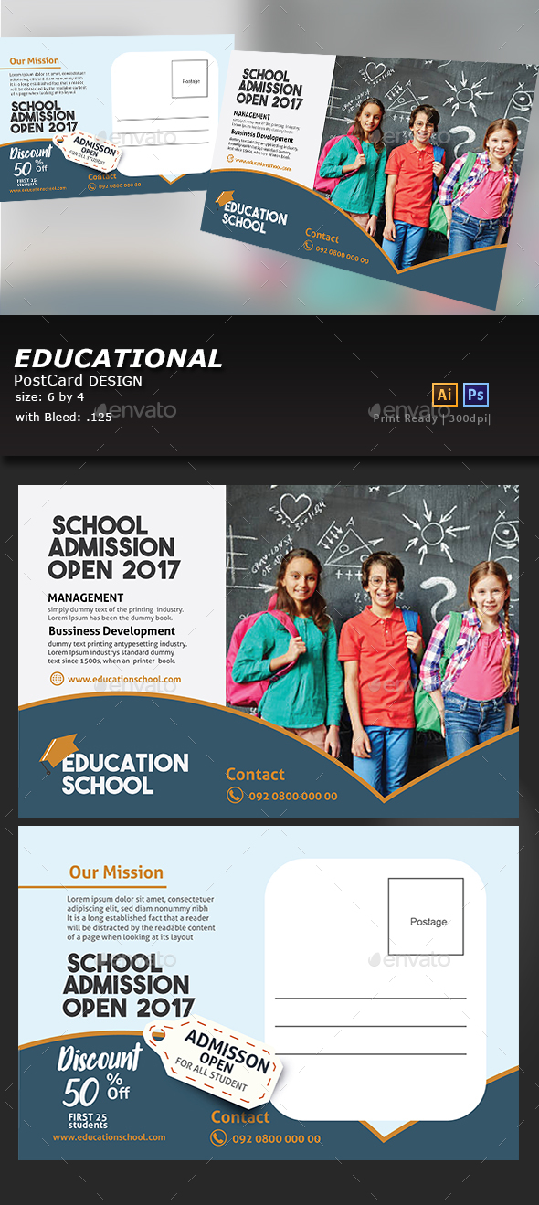 Education Postcard Design - Cards & Invites Print Templates