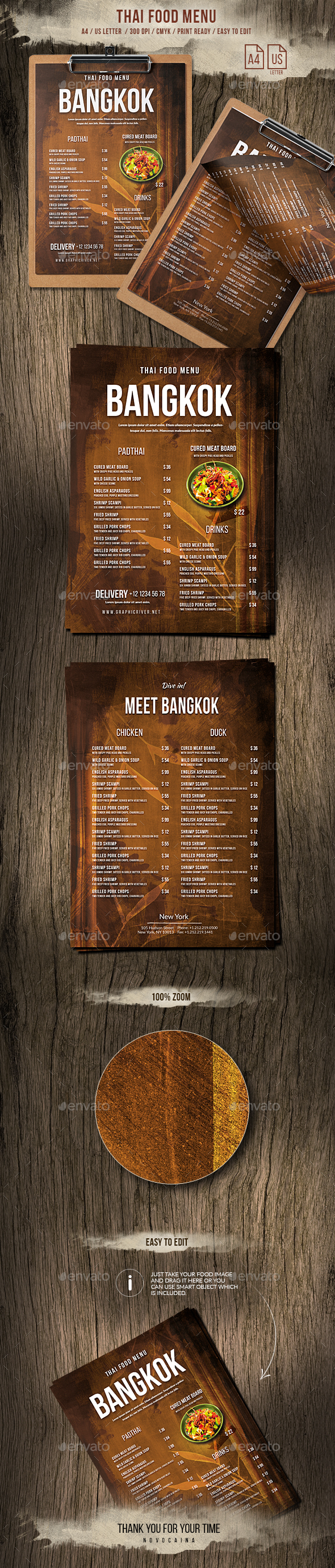 Thailand A4 and US Letter Menu - Food Menus Print Templates