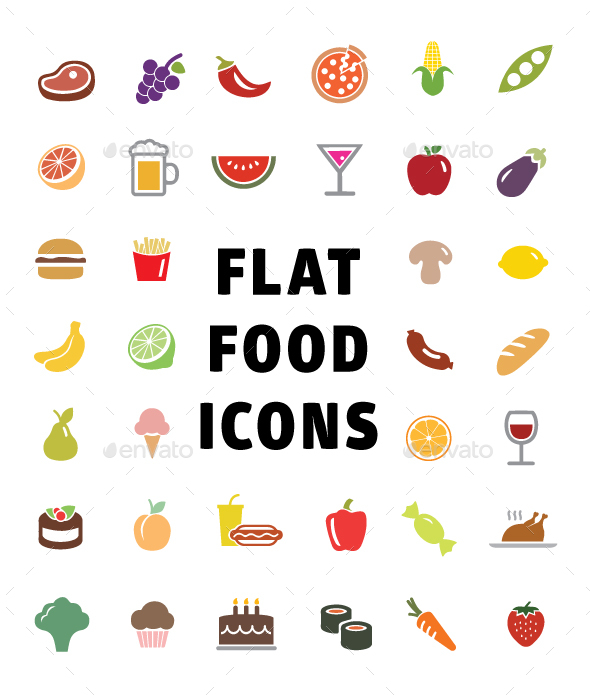 GraphicRiver Flat Food Icons 20888887