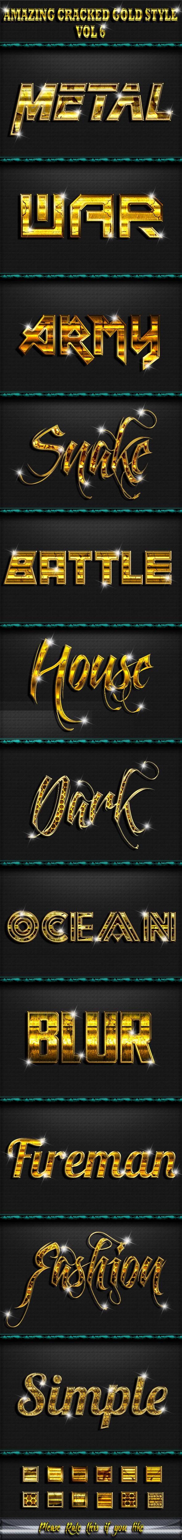 Amazing Cracked Gold Text Effect Style V6 - Styles Photoshop