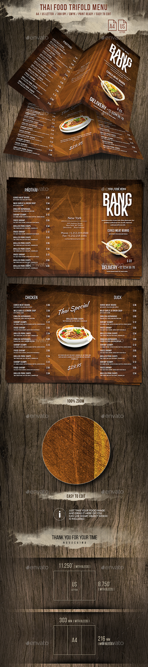 Thai Trifold A4 and US Letter Menu - Food Menus Print Templates