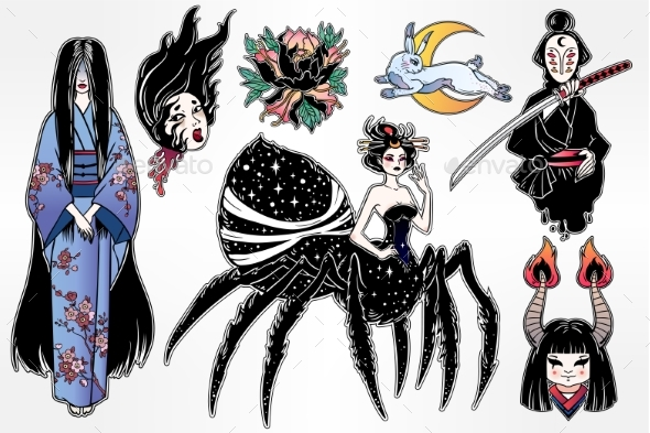 GraphicRiver Set of Japanese Folklore Yokai Spirits Demons 20888916